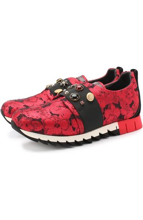Детские текстильные кроссовки с эластичной вставкой и декором Dolce & Gabbana красного цвета | Фото №1