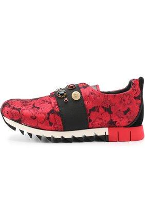 Детские текстильные кроссовки с эластичной вставкой и декором Dolce & Gabbana красного цвета | Фото №2