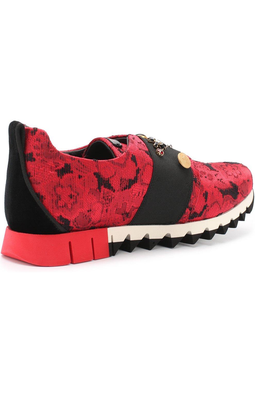 Детские текстильные кроссовки с эластичной вставкой и декором Dolce & Gabbana красного цвета | Фото №3