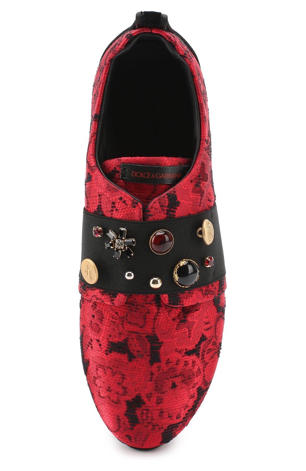 Детские текстильные кроссовки с эластичной вставкой и декором Dolce & Gabbana красного цвета | Фото №4
