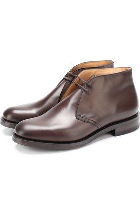 Кожаные ботинки на шнуровке Church's темно-коричневые | Фото №1