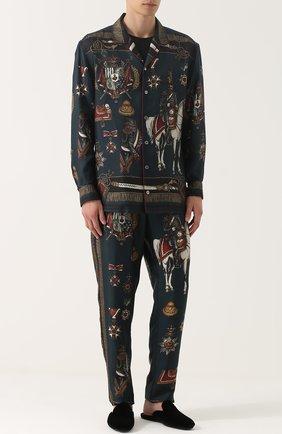 Шелковые домашние брюки с принтом Dolce & Gabbana темно-зеленые   Фото №2