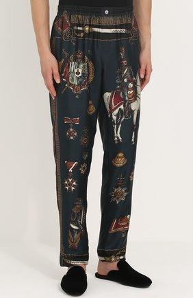 Шелковые домашние брюки с принтом Dolce & Gabbana темно-зеленые   Фото №3