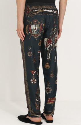 Шелковые домашние брюки с принтом Dolce & Gabbana темно-зеленые   Фото №4