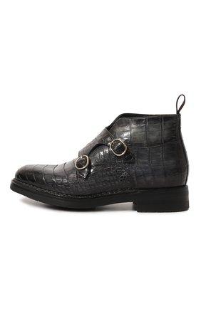 Мужские кожаные полусапоги с двумя пряжками SANTONI PRECIOUS темно-синего цвета, арт. MPC015340MI5HDV0 | Фото 2