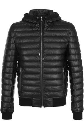 Утепленный кожаный бомбер на молнии с капюшоном Dolce & Gabbana черная | Фото №1