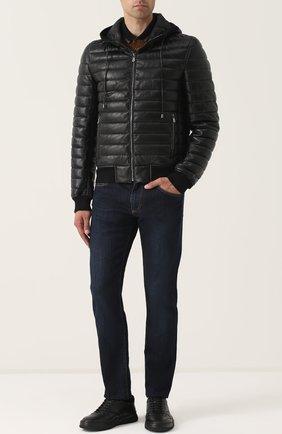 Утепленный кожаный бомбер на молнии с капюшоном Dolce & Gabbana черная | Фото №2
