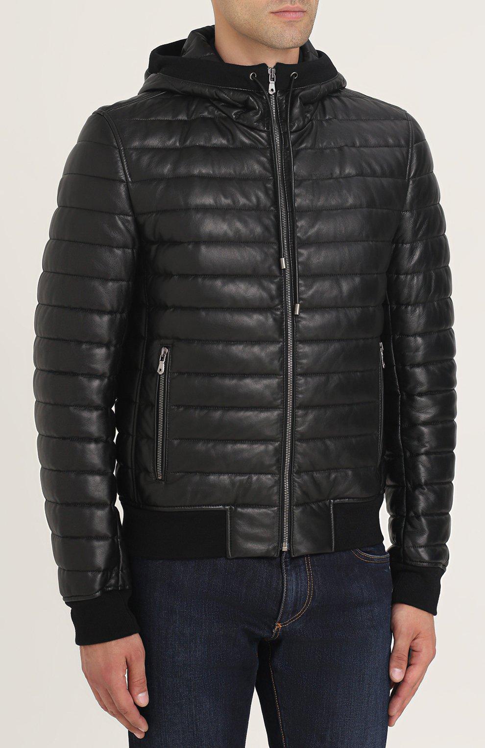 Утепленный кожаный бомбер на молнии с капюшоном Dolce & Gabbana черная | Фото №3