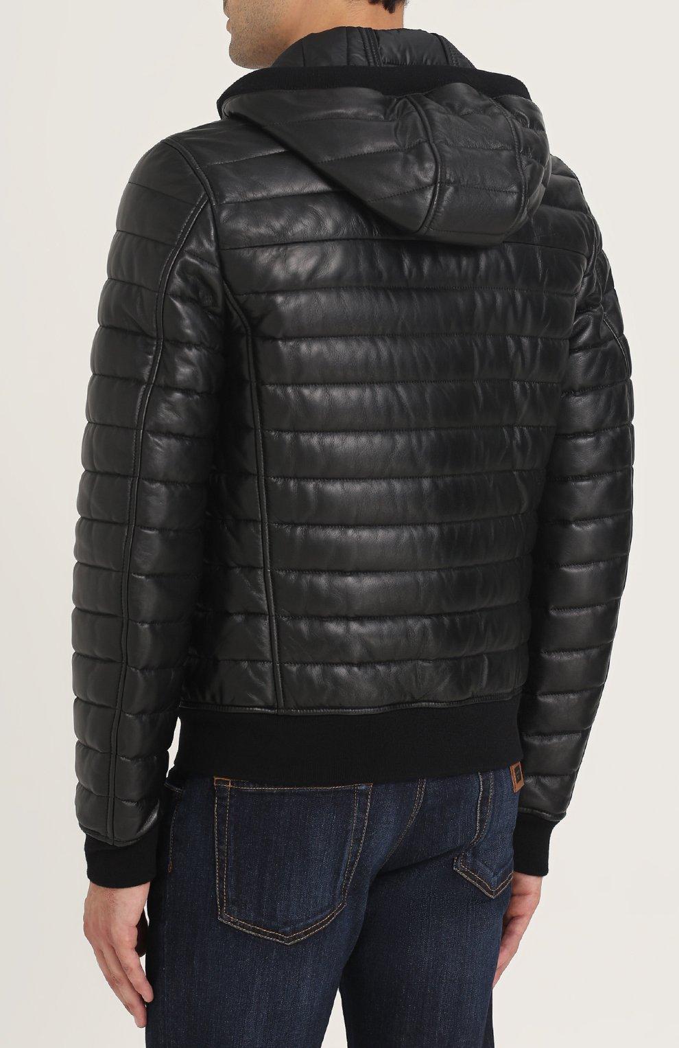 Утепленный кожаный бомбер на молнии с капюшоном Dolce & Gabbana черная | Фото №4