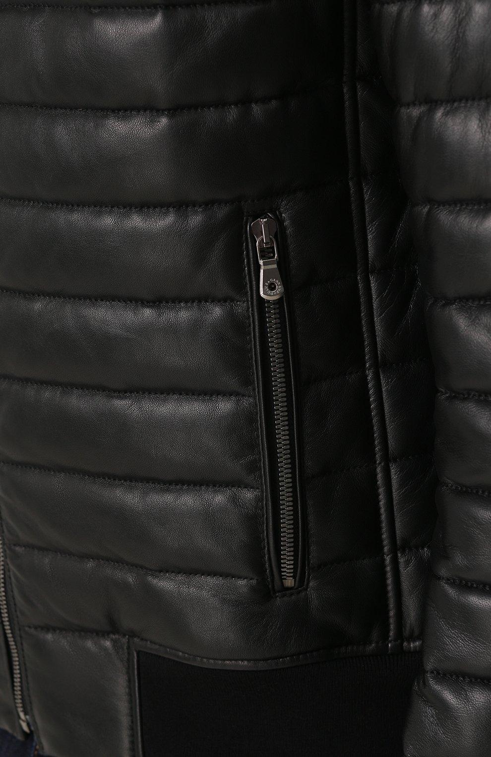 Утепленный кожаный бомбер на молнии с капюшоном Dolce & Gabbana черная | Фото №5