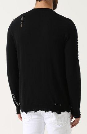 Джемпер из смеси шерсти и кашемира с необработанным краем и декоративной отделкой | Фото №4