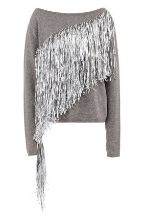 Шерстяной пуловер с металлизированной бахромой A.F.Vandevorst серый | Фото №1