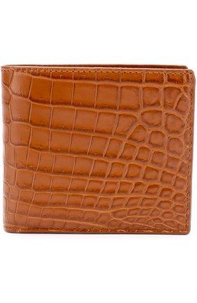 7acf471463dc Портмоне из кожи крокодила с отделениями для кредитных карт Bottega Veneta  светло-коричневого цвета
