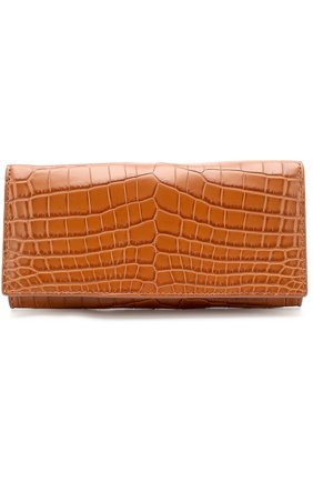 Мужской портмоне из кожи крокодила с отделениями для кредитных карт BOTTEGA VENETA светло-коричневого цвета, арт. 120697/V9023 | Фото 1