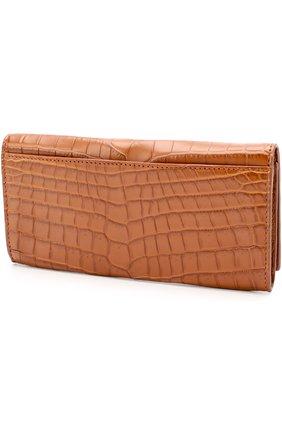 Мужской портмоне из кожи крокодила с отделениями для кредитных карт BOTTEGA VENETA светло-коричневого цвета, арт. 120697/V9023 | Фото 2