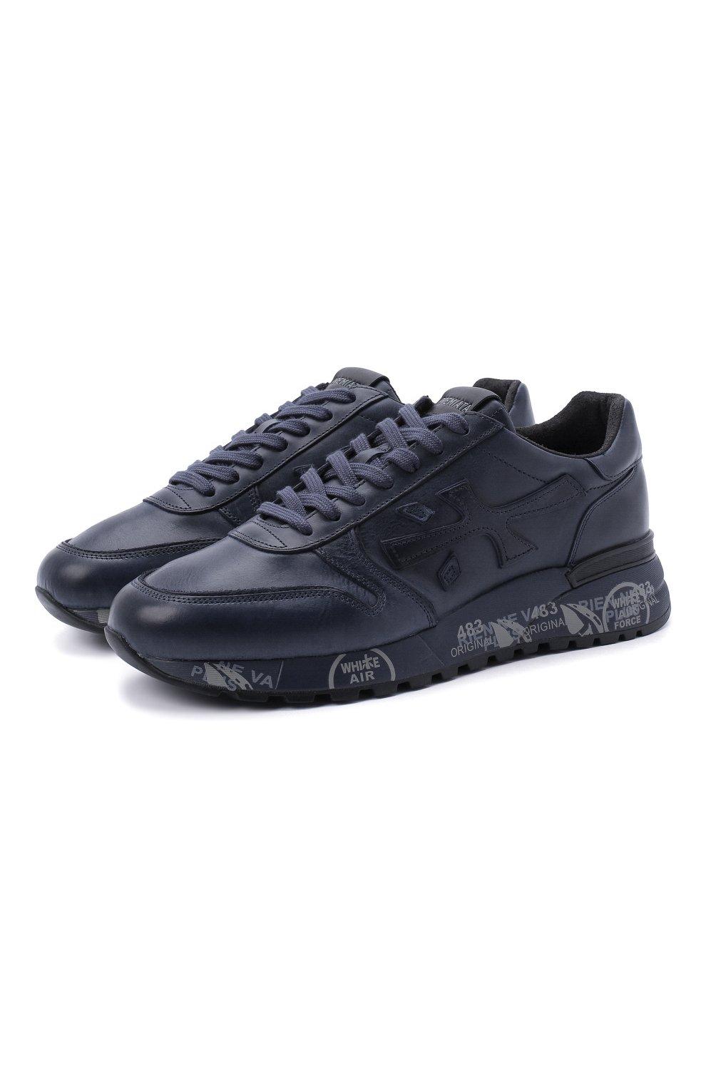 Мужские кожаные кроссовки mick на шнуровке PREMIATA темно-синего цвета, арт. MICK/VAR1807 | Фото 1