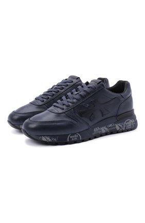 Кожаные кроссовки на подошве с принтом Premiata темно-синие | Фото №1