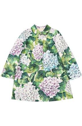 Однобортное пальто из хлопка и шелка с цветочным принтом  Dolce & Gabbana зеленого цвета | Фото №1