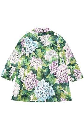 Однобортное пальто из хлопка и шелка с цветочным принтом  Dolce & Gabbana зеленого цвета | Фото №2