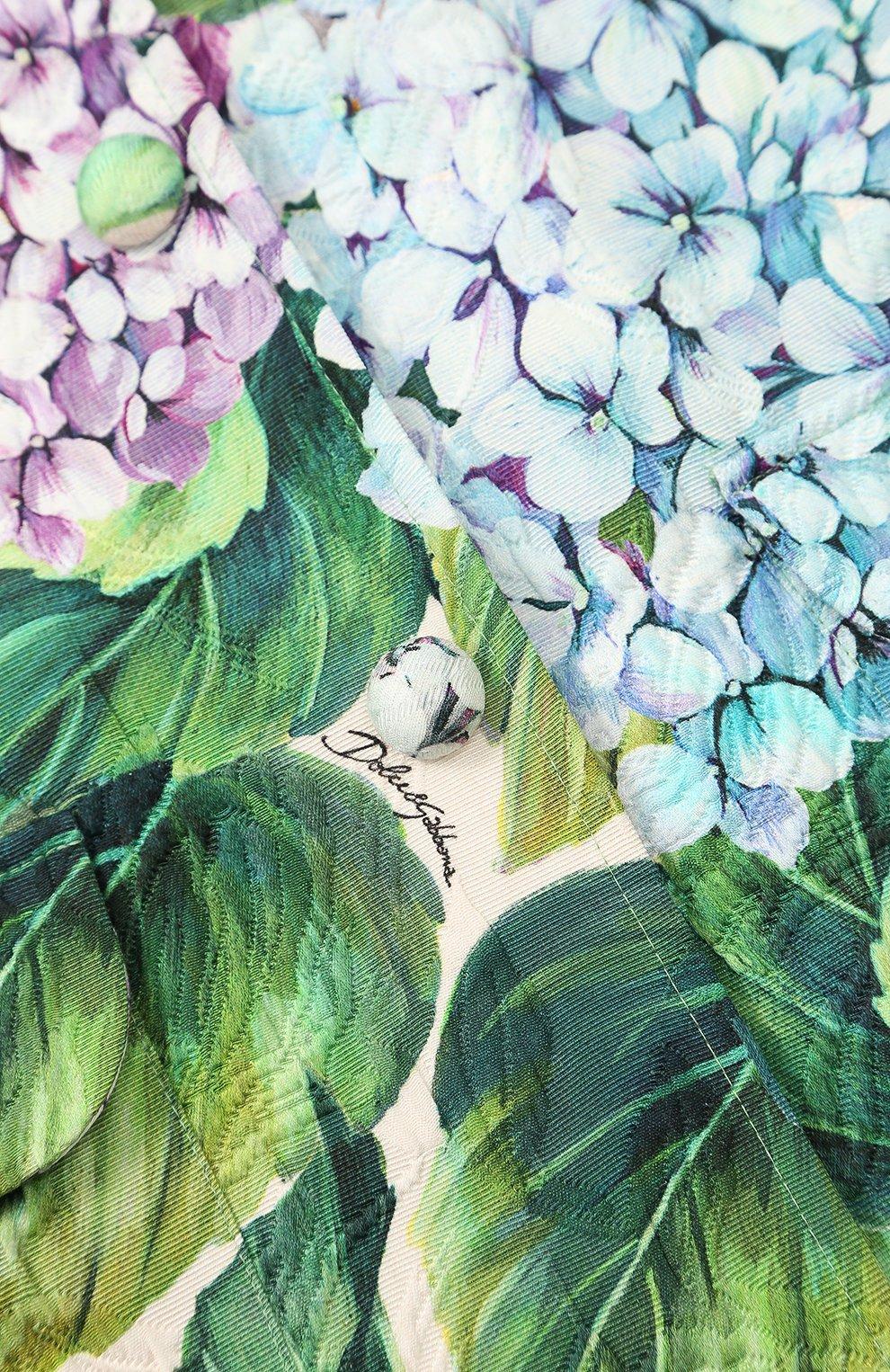 Однобортное пальто из хлопка и шелка с цветочным принтом  Dolce & Gabbana зеленого цвета | Фото №3