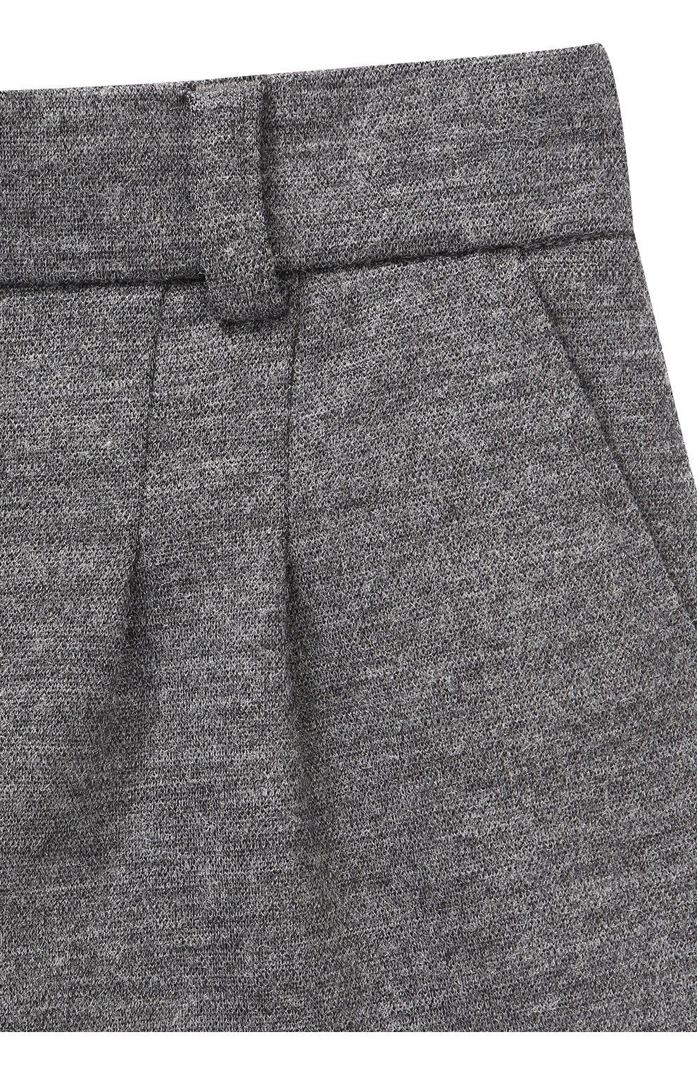 Детские шерстяные шорты с отворотами Dolce & Gabbana серого цвета   Фото №3