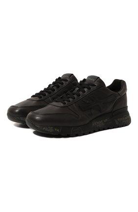 Кожаные кроссовки на шнуровке Premiata черные | Фото №1