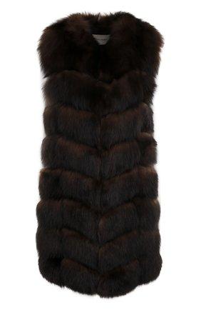 Удлиненный жилет из меха лисы Yves Salomon коричневый   Фото №1