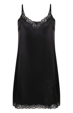 Шелковая сорочка с кружевной отделкой Vannina Vesperini черная | Фото №1