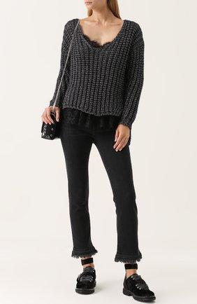 Укороченные джинсы с потертостями Rag&Bone черные | Фото №1