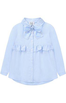 Хлопковая блуза с бантом и оборкой | Фото №1