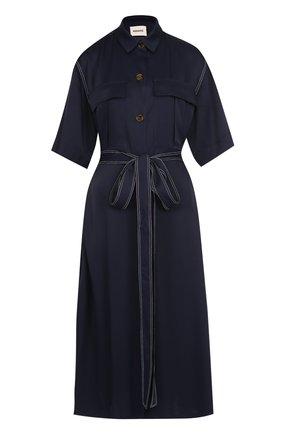 Платье-рубашка с поясом и укороченным рукавом | Фото №1
