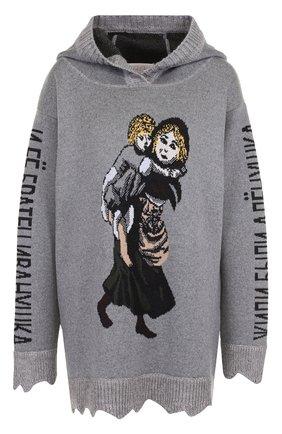 Шерстяной пуловер с принтом и капюшоном   Фото №1