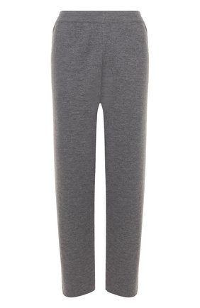 Шерстяные укороченные брюки прямого кроя Tak.Ori серые | Фото №1