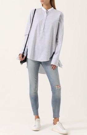 Женская хлопковая блуза свободного кроя в полоску Rag&Bone, цвет голубой, арт. W275A4537 в ЦУМ | Фото №1