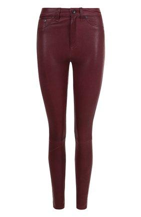 Однотонные кожаные брюки-скинни | Фото №1