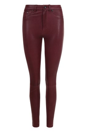 Однотонные кожаные брюки-скинни Rag&Bone бордовые | Фото №1