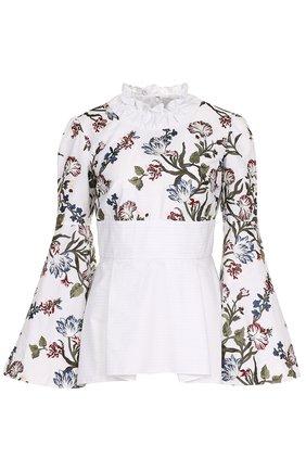 Женская приталенная хлопковая блуза с принтом Erdem, цвет разноцветный, арт. PF17_5686WTESC в ЦУМ | Фото №1