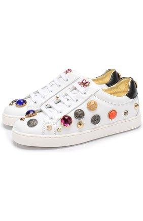 Детские кожаные кеды с декором и кристаллами Dolce & Gabbana белого цвета | Фото №1