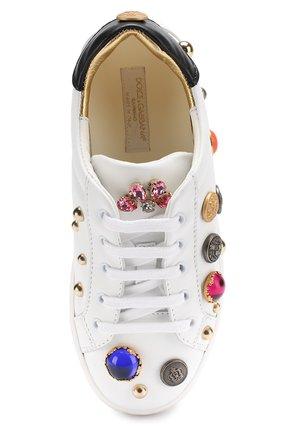 Детские кожаные кеды с декором и кристаллами Dolce & Gabbana белого цвета | Фото №4