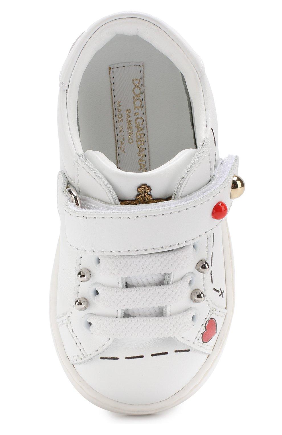 Детские кожаные кеды с декором и застежками велькро Dolce & Gabbana белого цвета | Фото №4