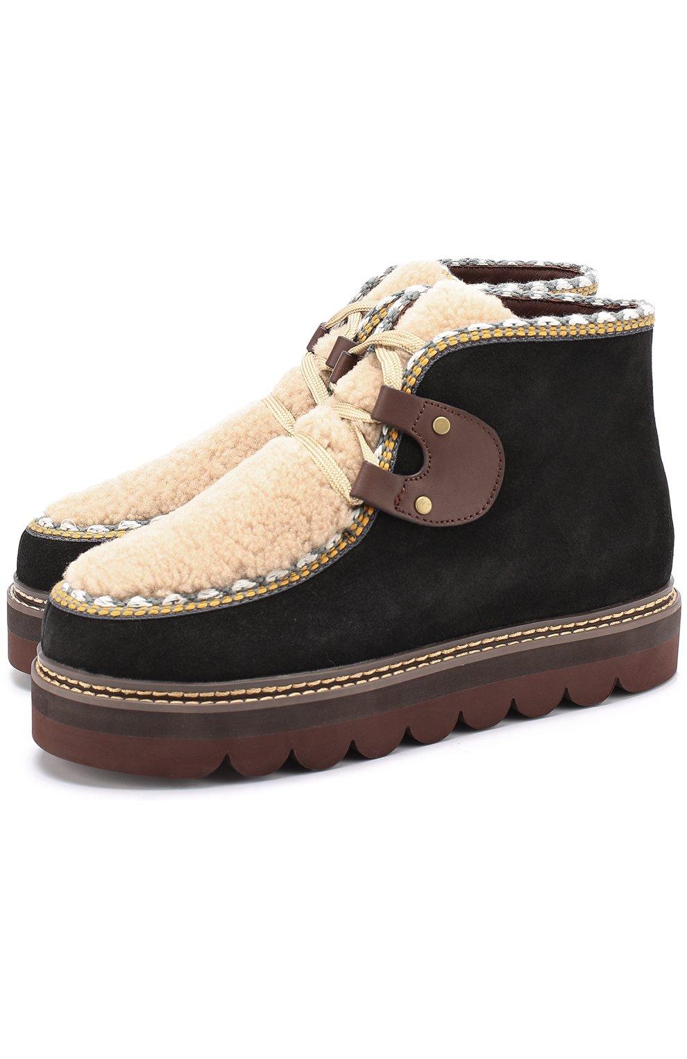 80ba7b1fe44b Женские черные замшевые ботинки с отделкой из овчины SEE BY CHLOÉ ...