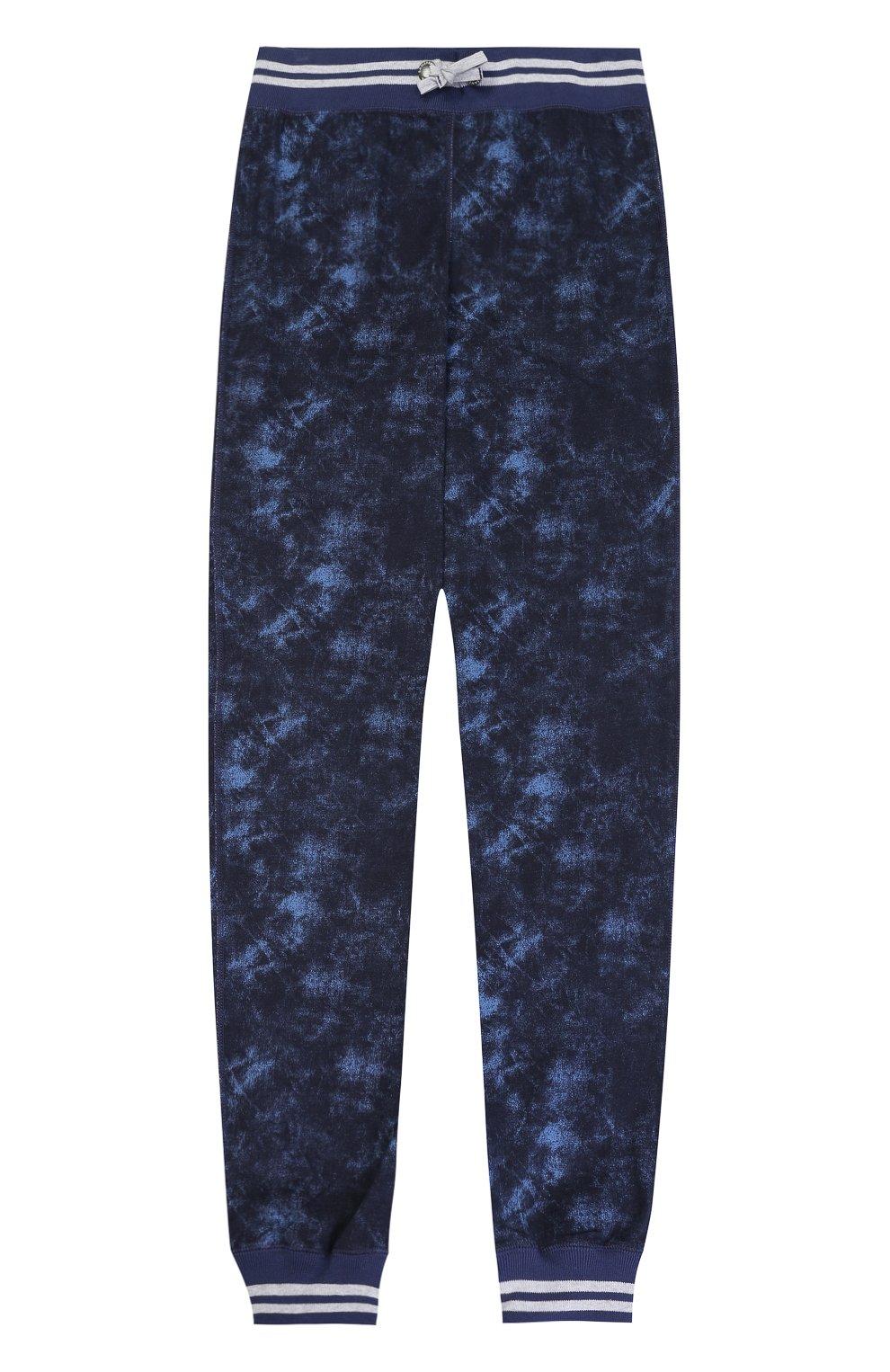 Хлопковые брюки с эластичными манжетами и принтом   Фото №1