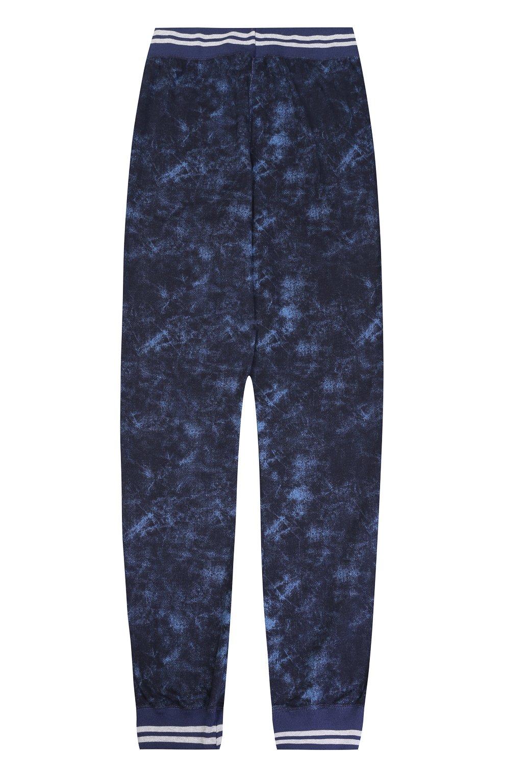 Хлопковые брюки с эластичными манжетами и принтом   Фото №2