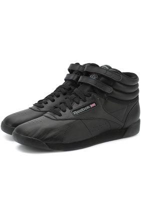 Кожаные кроссовки Freestyle Hi Reebok черные   Фото №1