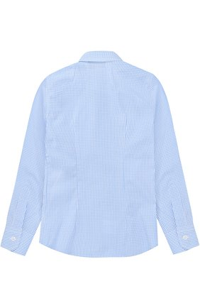 Детская хлопковая рубашка в мелкую клетку DAL LAGO голубого цвета, арт. N402/2206/4-6 | Фото 2
