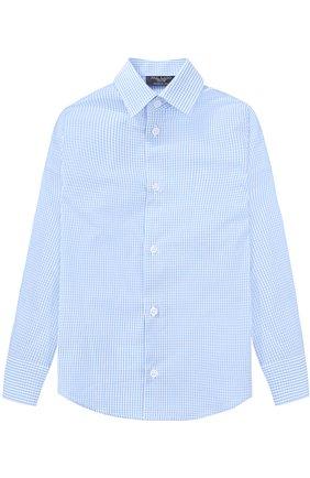 Детская хлопковая рубашка в мелкую клетку Dal Lago голубого цвета | Фото №1