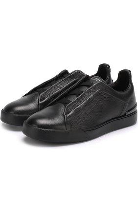 Мужские кожаные кеды с эластичными вставками ZEGNA COUTURE черного цвета, арт. A2205X-VAL | Фото 1