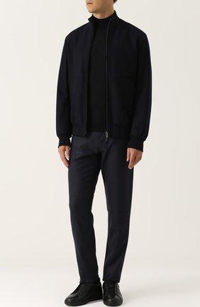 Кожаные кеды на шнуровке Zegna Couture черные | Фото №1
