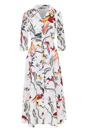 Приталенное платье-рубашка с принтом Erdem разноцветное | Фото №1