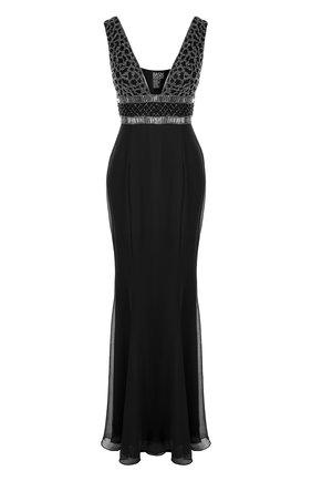 Приталенное платье-макси с вышивкой Basix Black Label черное | Фото №1